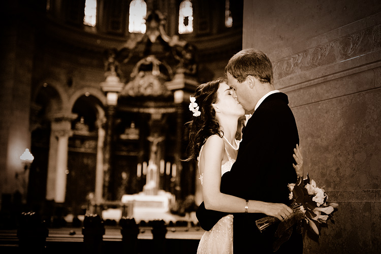 Wedding Couple Kissing Image