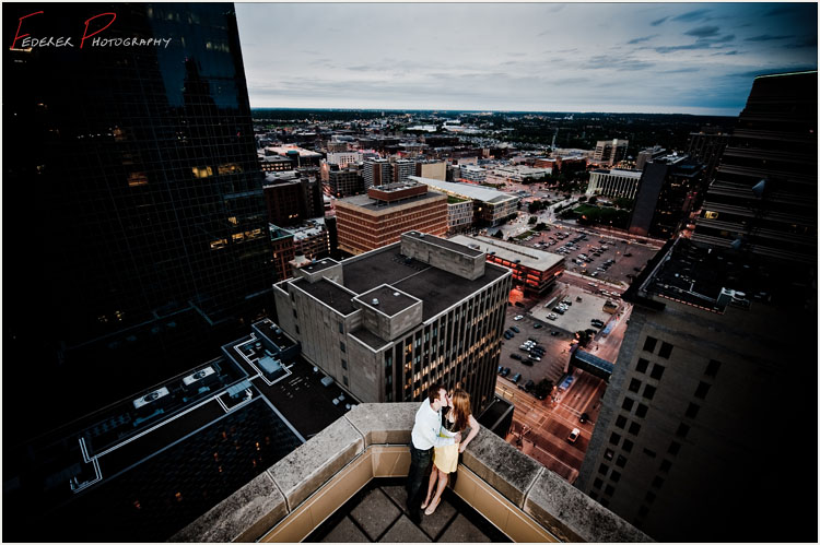 Minneapolis Rooftop Skyline Engagement Photographs